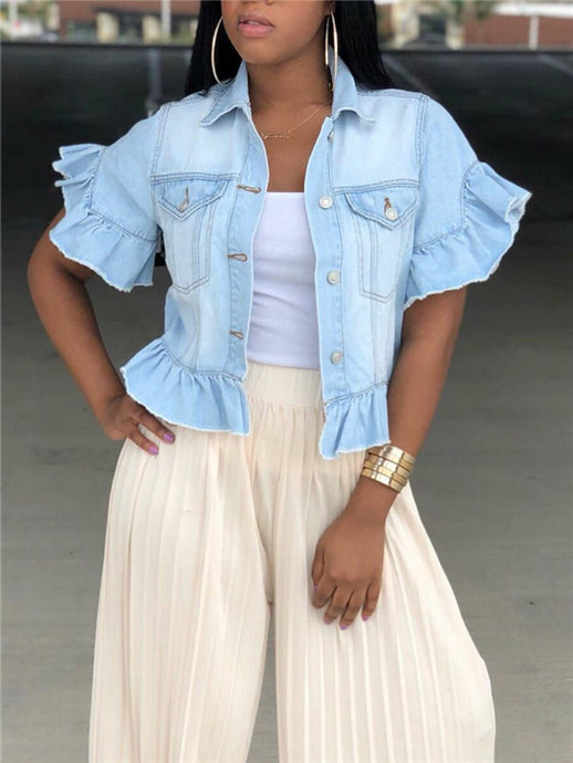 Short Sleeved Frill Denim Jacket