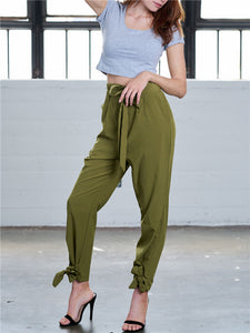 Tapered Crop Pants with Belt