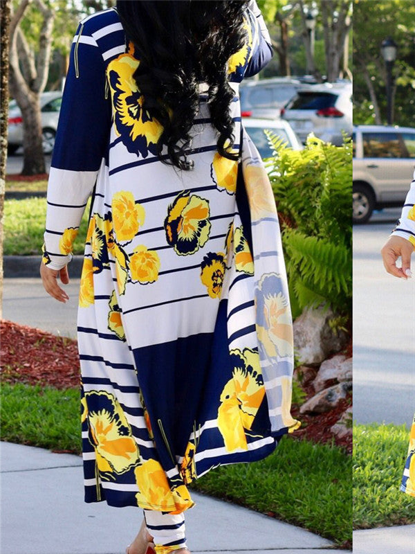 Printed Cardigan Long Sleeved Two Piece