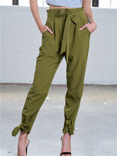 Load image into Gallery viewer, Tapered Crop Pants with Belt