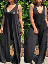 Load image into Gallery viewer, V Neck Hoodie Wide Leg Jumpsuit