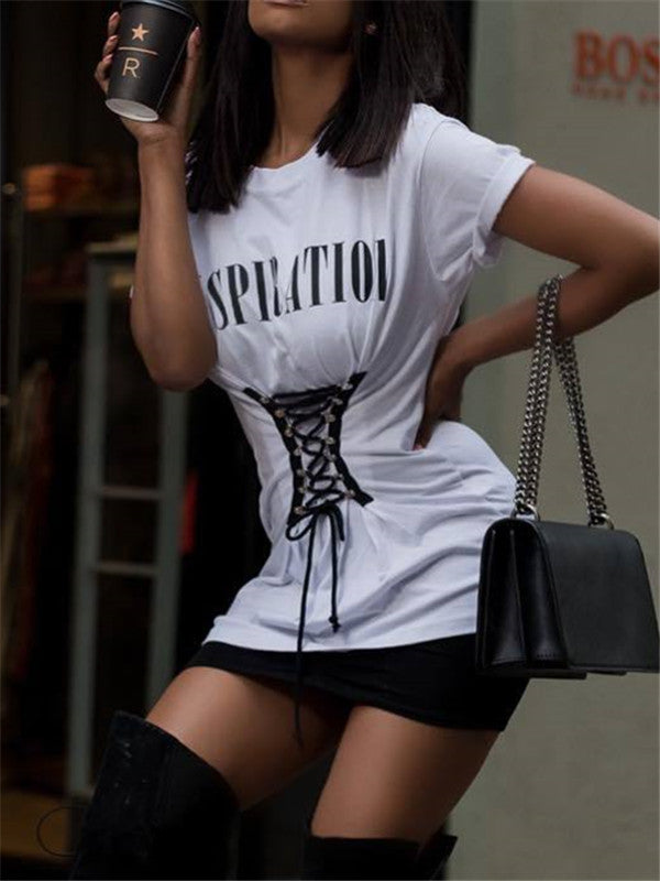 Inspiration Lace-up Ruched Front Tee