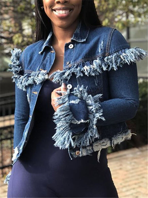 Distressed Tassel Button-Front Jacket