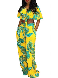Palm Printed Knot-Front Co-ord