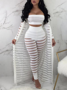 Ladder Hollow Cardigan & Bandeau Pants Set