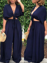Load image into Gallery viewer, Knot Front Crop Top & Wide Leg Pants Sets