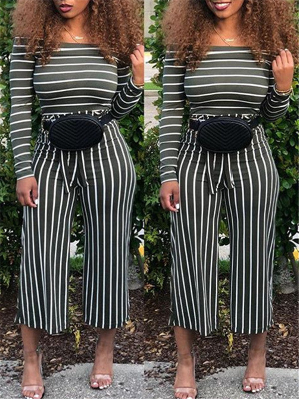Off Shoulder Stripe Tie Waist Two Piece