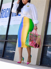 Load image into Gallery viewer, Rainbow Tie Dye Bodycon Skirt