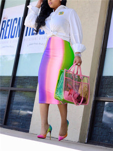 Rainbow Tie Dye Bodycon Skirt