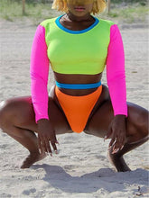 Load image into Gallery viewer, Colorblock Long-Sleeve Bikini