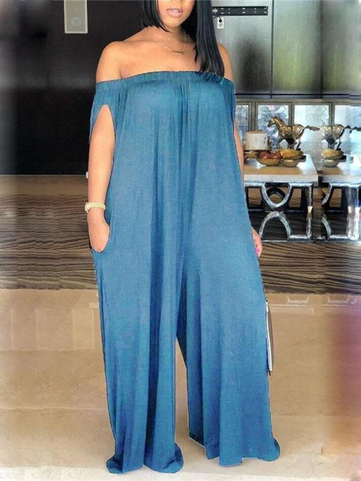 Denim Off Shoulder Loose Jumpsuit