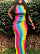 Load image into Gallery viewer, Rainbow Halter Maxi Dress