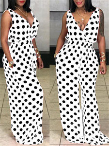 Polka Dot Plunging Wide Leg Jumpsuit