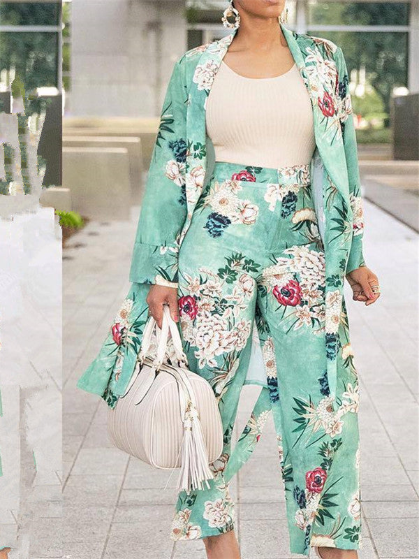 Floral Printed Wide Leg Two Pieces