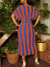 Load image into Gallery viewer, Cap-Sleeve Stripe Front-Slit Dress with Belt