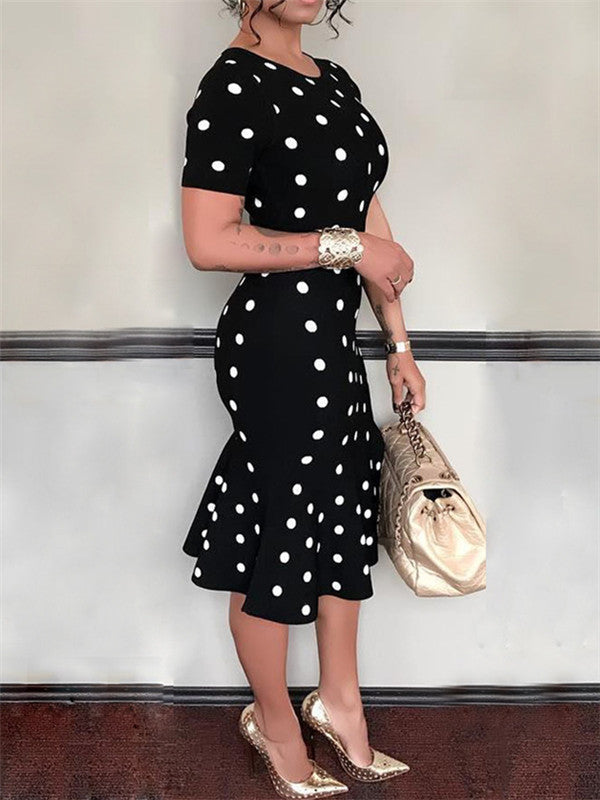 Crewneck Polka Dot Ruffle Dress