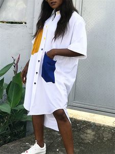 Color-Block Loose Shirt Dress