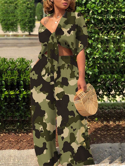 Knot-Front Camo Co-ord