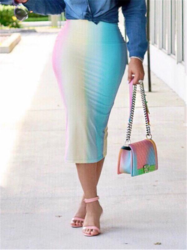 Tie-dye Bodycon Midi Skirt