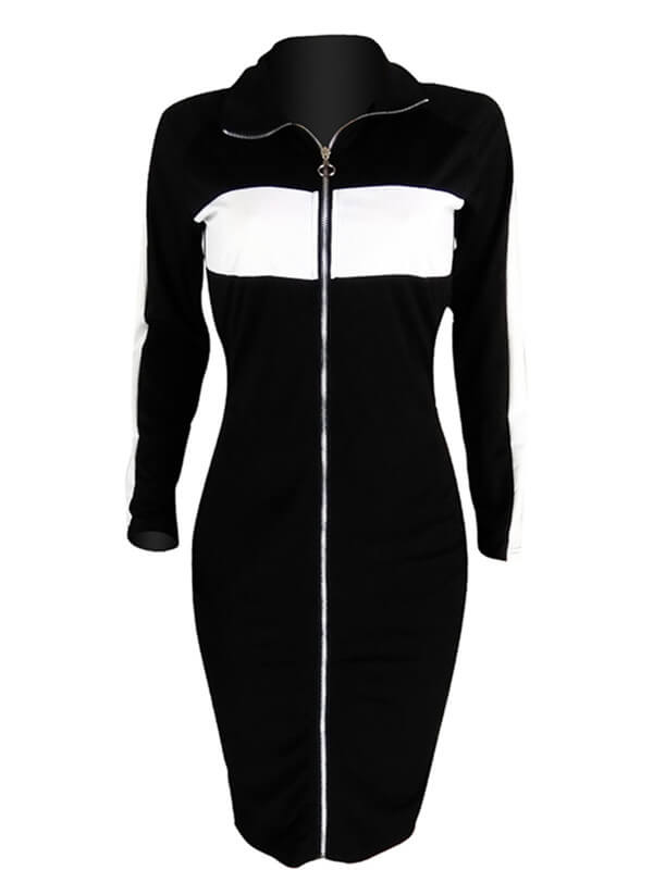 Zip-Front Two-Tone Bodycon Dress