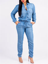 Load image into Gallery viewer, Long Sleeve Denim Jumpsuit