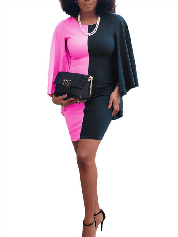 Capelet Sleeve Two-Tone Bodycon Dress