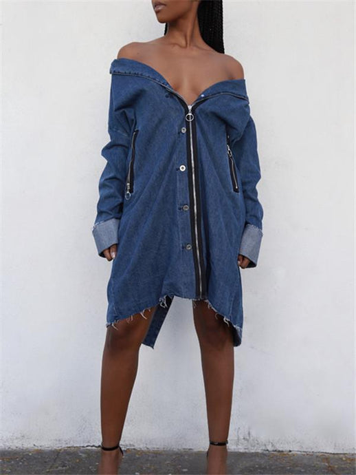 Zip-Front Denim Jacket