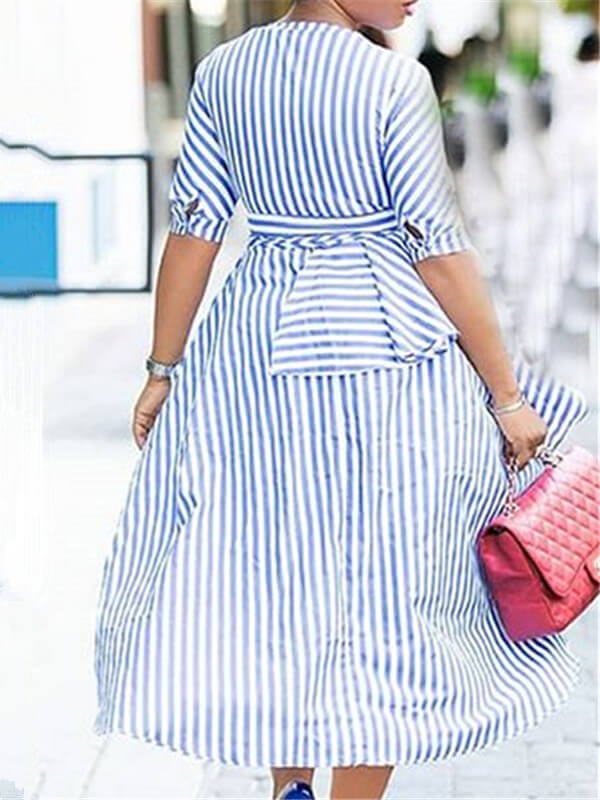 Stripe High-Low Plunge Shirtdress