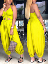 Load image into Gallery viewer, Halter Ruched Solid Color Jumpsuit