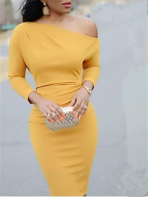 One Shoulder Long-Sleeve Bodycon Dress