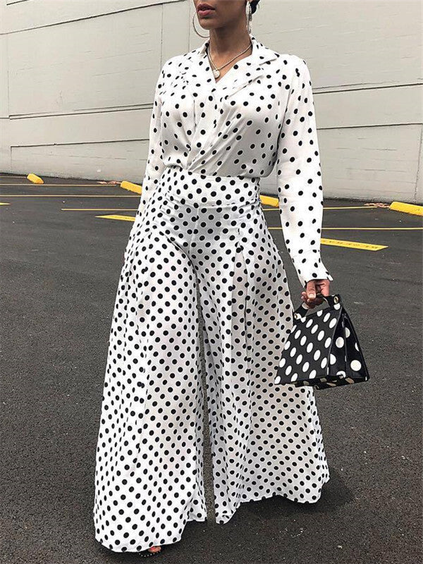 Polka Dot Shirt & Palazzo Pants Two Piece