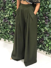Load image into Gallery viewer, Army Green Casual Palazzo Pants