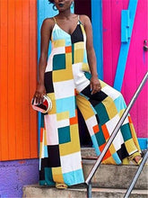 Load image into Gallery viewer, Spaghetti Color-Block Wide Leg Jumpsuit