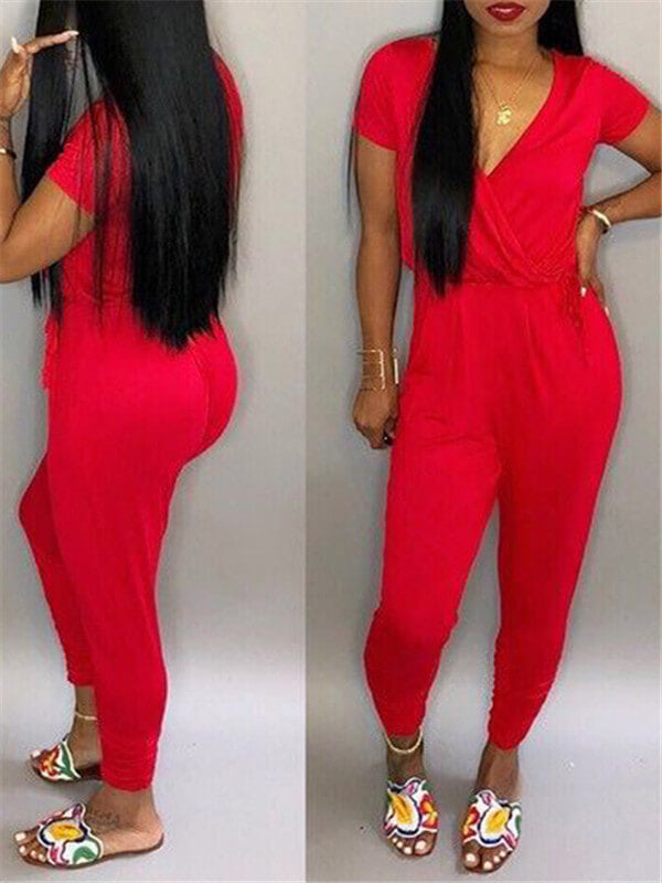 Plunging Solid Color Cinched-Waist Jumpsuit