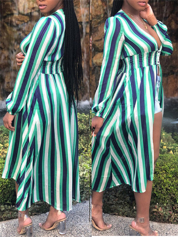 Stripe Plunge Long Sleeve Maxi Dress