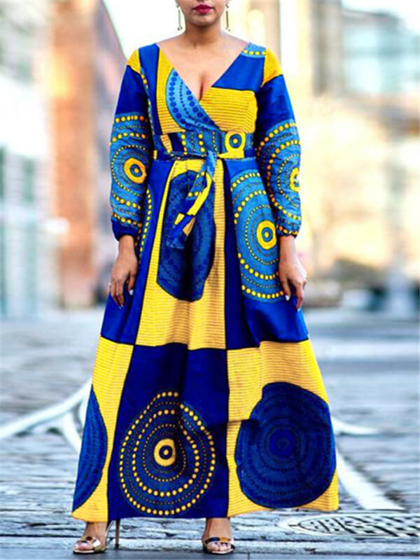 African Print Wrapped Maxi Dress