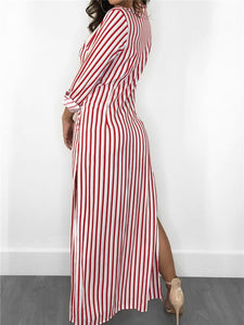 Stripe Side-Slit Maxi Shirtdress