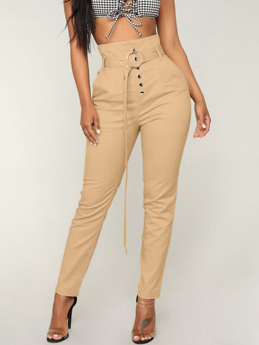 High Waist Button Pants With Belt