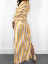 Load image into Gallery viewer, Stripe Side-Slit Maxi Shirtdress