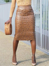 Load image into Gallery viewer, Studded PU Pencil Skirt (1400550260853)