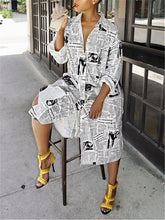 Load image into Gallery viewer, Newspaper Shirt Dress (1418488774773)