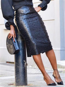 Studded PU Bodycon Skirt