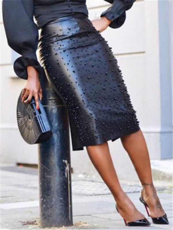 Studded PU Pencil Skirt (1400550260853)