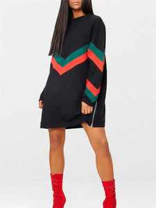 Combo Side-Zipper Crewneck Dress