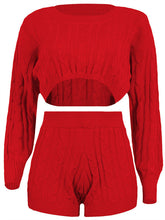 Load image into Gallery viewer, Rib-Knit Crop Top&Shorts Co-ord