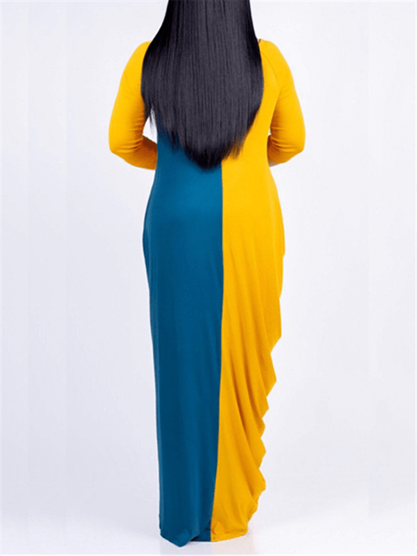 Two-Tone Crewneck Maxi Dress