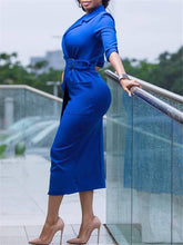 Load image into Gallery viewer, Notched-Lapel Midi Dress with Belt