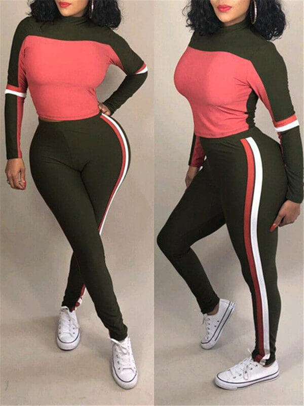 Colorblock Top & Side-Stripe Pants Set