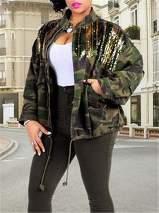 Striped Sequin Camo Jacket