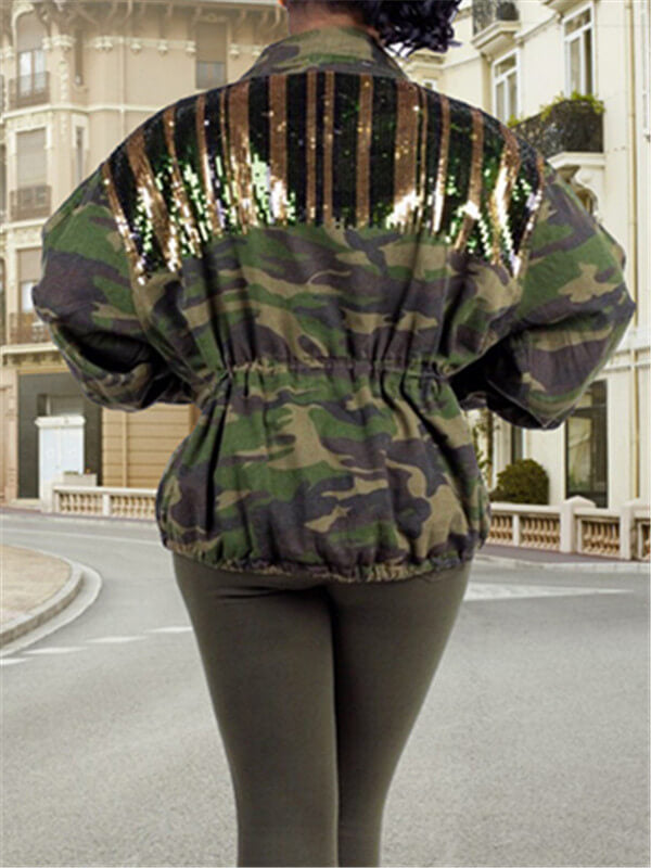 Striped Sequin Camo Coat